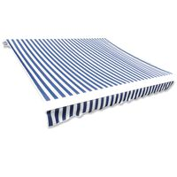 Awning Top Sunshade Canvas Blue & White 4x3m (Frame Not Included)