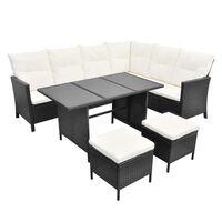 vidaXL 4 Piece Garden Lounge Set with Cushions Poly Rattan Black