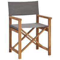 vidaXL Director's Chair Solid Teak Wood Grey