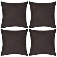 4 Brown Cushion Covers Cotton 50 x 50 cm
