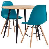 vidaXL 3 Piece Dining Set Plastic Turquoise
