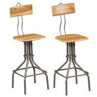 vidaXL Bar Chairs 2 pcs Solid Reclaimed Teak Wood