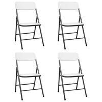 vidaXL Folding Garden Chairs 4 pcs HDPE White