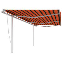 vidaXL Manual Retractable Awning with Posts 6x3 m Orange and Brown