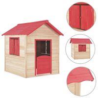 vidaXL Kids Play House Fir Wood Red
