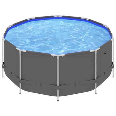 vidaXL Swimming Pool with Steel Frame 367x122 cm Anthracite