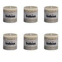 Bolsius Rustic Pillar Candles 6 pcs 100x100 mm Pebble Grey