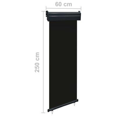 vidaXL Balcony Side Awning 60x250 cm Black