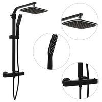 vidaXL Dual Head Shower Set with Mixer and Hose Black