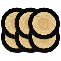 vidaXL Placemats 6 pcs Natural and Black 38 cm Jute and Cotton
