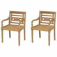 vidaXL Batavia Chairs 2 pcs Solid Teak Wood