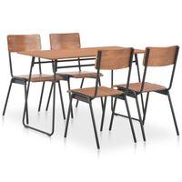 vidaXL 5 Piece Dining Set Brown Solid Plywood Steel