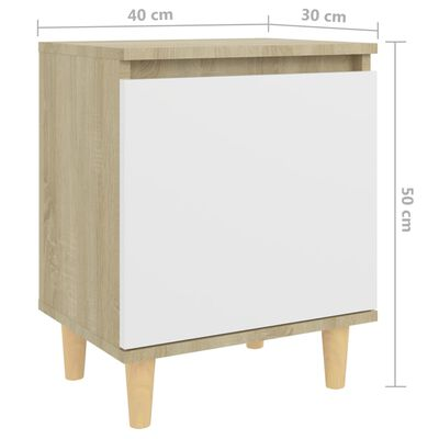 vidaXL Bed Cabinets Solid Wood Legs 2pcs Sonoma Oak&White 40x30x50cm