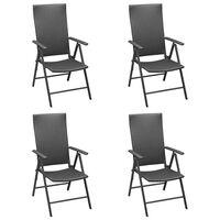 vidaXL Garden Chairs 4 pcs Poly Rattan Black