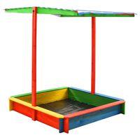 vidaXL Sandbox with Adjustable Roof Fir Wood Multicolour UV50