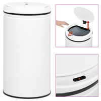 vidaXL Automatic Sensor Dustbin 60 L Carbon Steel White