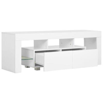 vidaXL TV Cabinet with LED Lights High Gloss White 130x35x45 cm