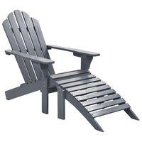 vidaXL Garden Chair with Ottoman Wood Grey