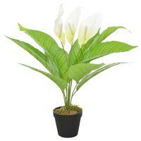 vidaXL Artificial Plant Anthurium with Pot White 55 cm