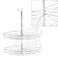 vidaXL 2-Tier Kitchen Wire Basket Silver 180 Degree 75x38x80 cm