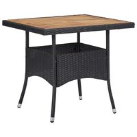 vidaXL Outdoor Dining Table Black Poly Rattan and Solid Acacia Wood