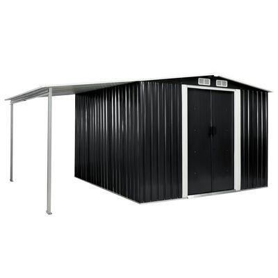 vidaXL Garden Shed with Sliding Doors Anthracite 386x259x178 cm Steel