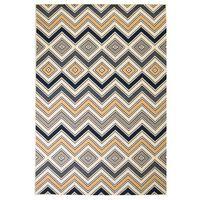 vidaXL Modern Rug Zigzag Design 120x170 cm Brown/Black/Blue