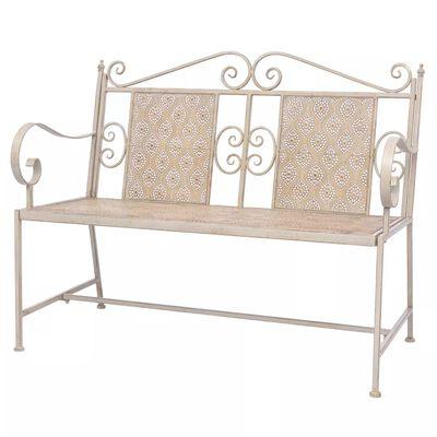 vidaXL Garden Bench 115 cm Steel Vintage White