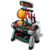 Kids'/Children's Playroom Toy Workbench with Tools Green + Grey