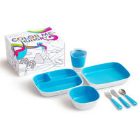 Munchkin 7 Piece Table Dining Set Color Me Hungry Blue