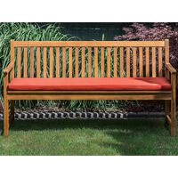 Garden Bench Certified Acacia Wood 160 cm with Red Cushion VARA