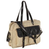 vidaXL Hand Bag Beige 40x53 cm Canvas and Real Leather