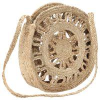 vidaXL Round Should Bag Hollow Natural Handmade Jute