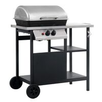 vidaXL Gas BBQ Grill with 3-layer Side Table Black and Silver