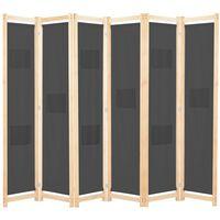 vidaXL 6-Panel Room Divider Grey 240x170x4 cm Fabric