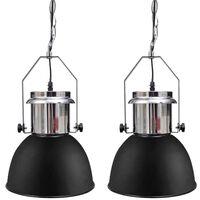 vidaXL Ceiling Lamp 2 pcs Height-adjustable Modern Black Metal