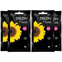 Dylon Hand Fabric Dye Sachet, Sunflower Yellow, 4 Packs Of 50g