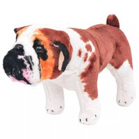 vidaXL Standing Plush Toy Bulldog White and Brown XXL