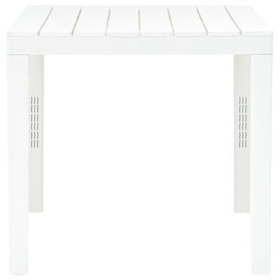 vidaXL Garden Table with 2 Benches Plastic White