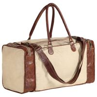 vidaXL Weekend Bag Beige 54x23x52 cm Canvas and Real Leather