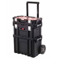 Keter Tool Storage Box with Connect Trolley and Rolling Systems Black
