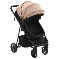 10163 vidaXL 2-in-1 Baby Stroller/Pram Taupe and Black Steel