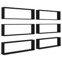 vidaXL Wall Cube Shelves 6 pcs Black 100x15x30 cm Chipboard