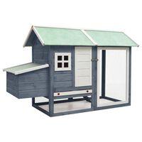 vidaXL Chicken Cage Grey 170x81x110 cm Solid Pine & Fir Wood