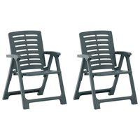 vidaXL Garden Chairs 2 pcs Plastic Green