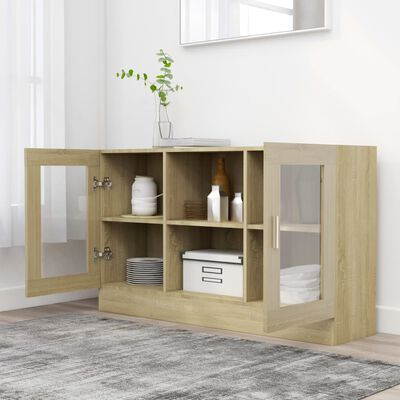 vidaXL Vitrine Cabinet Sonoma Oak 120x30.5x70 cm Chipboard