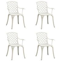 vidaXL Garden Chairs 4 pcs Cast Aluminium White