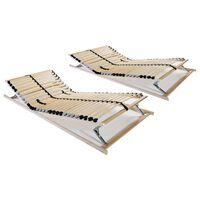 vidaXL Slatted Bed Bases 2 pcs with 28 Slats 7 Zones 70x200 cm