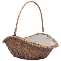 vidaXL Firewood Basket with Handle 60x44x55 cm Natural Willow