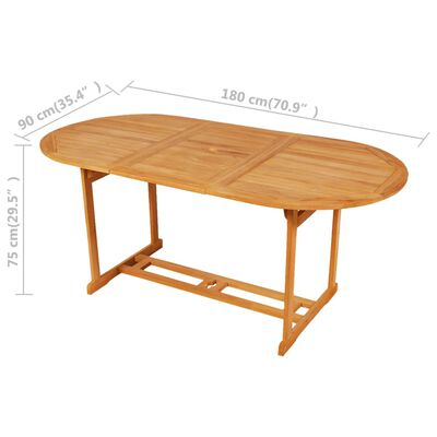 vidaXL 7 Piece Garden Dining Set Solid Teak Wood